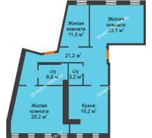 3 комнатная квартира 129,7 м², Жилой дом: ул. Варварская - планировка
