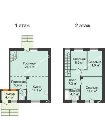 4 комнатная квартира 95,5 м² в КП Ждановский, дом № 1