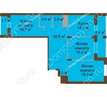 3 комнатная квартира 99,7 м² в ЖК Монолит, дом № 89, корп. 1, 2 - планировка