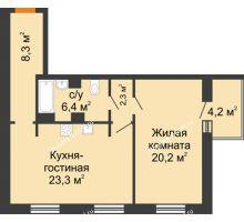 2 комнатная квартира 62,6 м² - ЖК Дом на 17-й Линии, 3