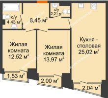 2 комнатная квартира 68,27 м², Клубный дом на Ярославской - планировка