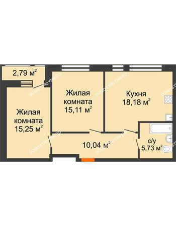 2 комнатная квартира 67,1 м² в ЖК Книги, дом № 1