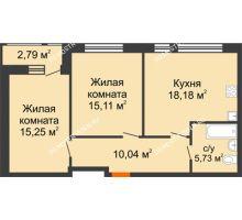 2 комнатная квартира 67,1 м² в ЖК Книги, дом № 1 - планировка