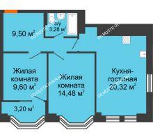 3 комнатная квартира 59,39 м², ЖК Каскад на Менделеева - планировка