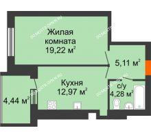 1 комнатная квартира 43,8 м² в ЖК Свобода, дом 1 очередь - планировка