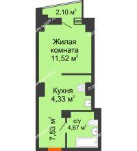 Студия 29,1 м² в ЖК Рубин, дом Литер 1 - планировка