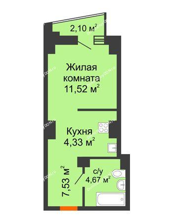 Студия 29,1 м² в ЖК Рубин, дом Литер 1