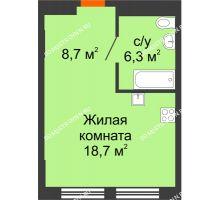 Студия 33,7 м², Комплекс апартаментов KM TOWER PLAZA - планировка