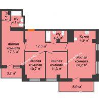 4 комнатная квартира 90,3 м² в ЖК Времена года, дом № 1 - планировка