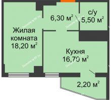 1 комнатная квартира 48,9 м² в ЖК Пять звёзд, дом Секция 4/2 - планировка