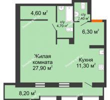 1 комнатная квартира 61,3 м², ЖК Утро - планировка