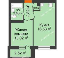 1 комнатная квартира 36,26 м² в ЖК Москва Град, дом 61 - планировка
