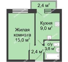 1 комнатная квартира 30,9 м² в ЖК Окский берег, дом №1, Индустриальная улица - планировка
