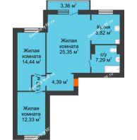 3 комнатная квартира 75,56 м² в ЖК Иннoкeнтьeвcкий, дом №7а - планировка