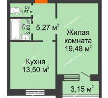 1 комнатная квартира 42,62 м² в ЖК На Гнаровской, дом № 12 корпус 9 - планировка