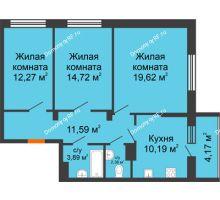 3 комнатная квартира 78,83 м², ЖК Галактика - планировка