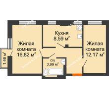 2 комнатная квартира 50,47 м², ЖК Онегин - планировка