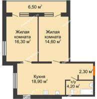 2 комнатная квартира 62,8 м² в ЖК Куйбышев, дом № 10 - планировка