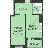 1 комнатная квартира 44,61 м² - ЖК Буревестник
