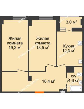 2 комнатная квартира 74,2 м² в ЖК Квартет, дом № 3