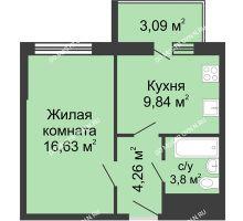1 комнатная квартира 37,6 м² - ЖК Алый Парус