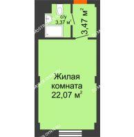 Апартаменты-студия 28,91 м², Апарт-Отель Гордеевка - планировка