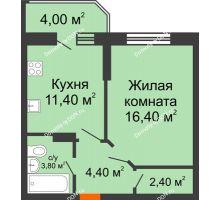 1 комнатная квартира 42,4 м² в ЖК Звездный-2, дом № 4 - планировка