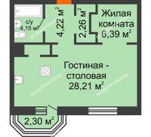 1 комнатная квартира 46,92 м², ЖК Дом на Гребешке - планировка