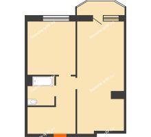 2 комнатная квартира 59,1 м² в ЖК Ромашково, дом Позиция 2 - планировка