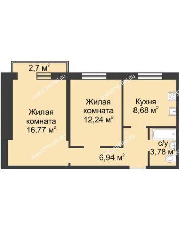2 комнатная квартира 49,19 м² в ЖК Тридесятое, дом № 19