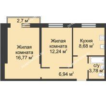 2 комнатная квартира 49,19 м² в ЖК Тридесятое, дом № 19 - планировка