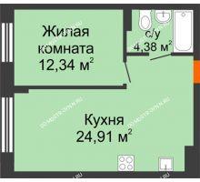 1 комнатная квартира 41,62 м², ЖК Шаляпин - планировка