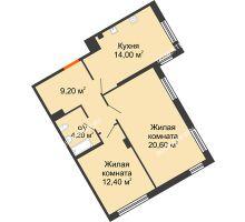 2 комнатная квартира 60,4 м² в ЖК Маршал Град, дом № 3 - планировка
