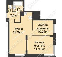 2 комнатная квартира 55,59 м² - ЖК Университетский