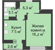 1 комнатная квартира 34,1 м² в ЖК Аквамарин, дом № 7 - планировка
