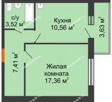 1 комнатная квартира 38,85 м² в ЖК Образцово, дом № 4 - планировка
