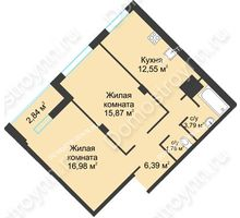 2 комнатная квартира 60,2 м² в ЖК На Вятской, дом № 3 (по генплану)
