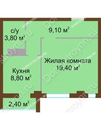 1 комнатная квартира 42,3 м² - ЖК Северный Дворик