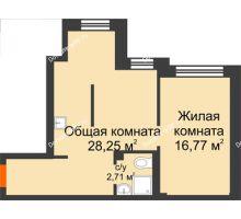 2 комнатная квартира 46,7 м² в Микрорайон Новая жизнь, дом позиция 19 - планировка