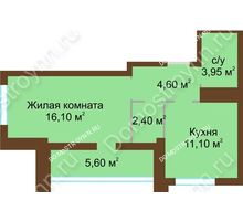 1 комнатная квартира 40,95 м², Жилой дом: ул. Краснозвездная д. 2 - планировка