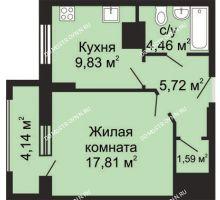 1 комнатная квартира 41,48 м², ЖК Гелиос - планировка