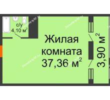 Студия 45,36 м² в ЖК Элегант, дом Литер 11 - планировка