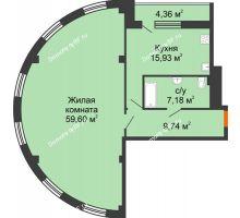1 комнатная квартира 96,71 м², ЖК 311 - планировка