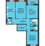 3 комнатная квартира 96,04 м², ЖК Адмиралъ - планировка