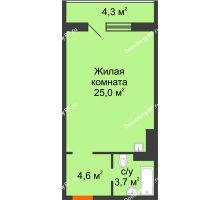 Студия 34,6 м² в ЖК Апрелевка, дом Жилой дом №2, строение 1 - планировка