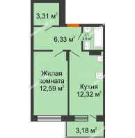 1 комнатная квартира 38,81 м² в ЖК Мандарин, дом 2 позиция 5-8 секция - планировка