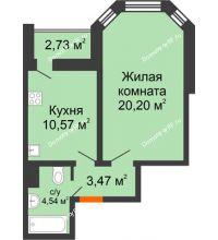 1 комнатная квартира 40,15 м², Жилой дом: №23 в мкр. Победа - планировка
