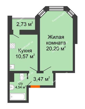 1 комнатная квартира 40,15 м² - Жилой дом: №23 в мкр. Победа
