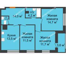3 комнатная квартира 76,7 м² в ЖК Подкова на Родионова, дом № 2 - планировка