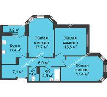 3 комнатная квартира 85 м² в ЖК Цветы, дом № 15 - планировка
